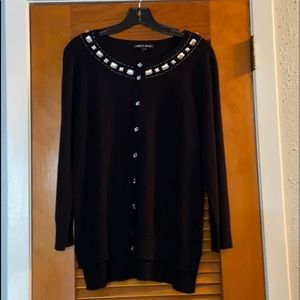 Cable and Gauge black cardigan with rhinestones